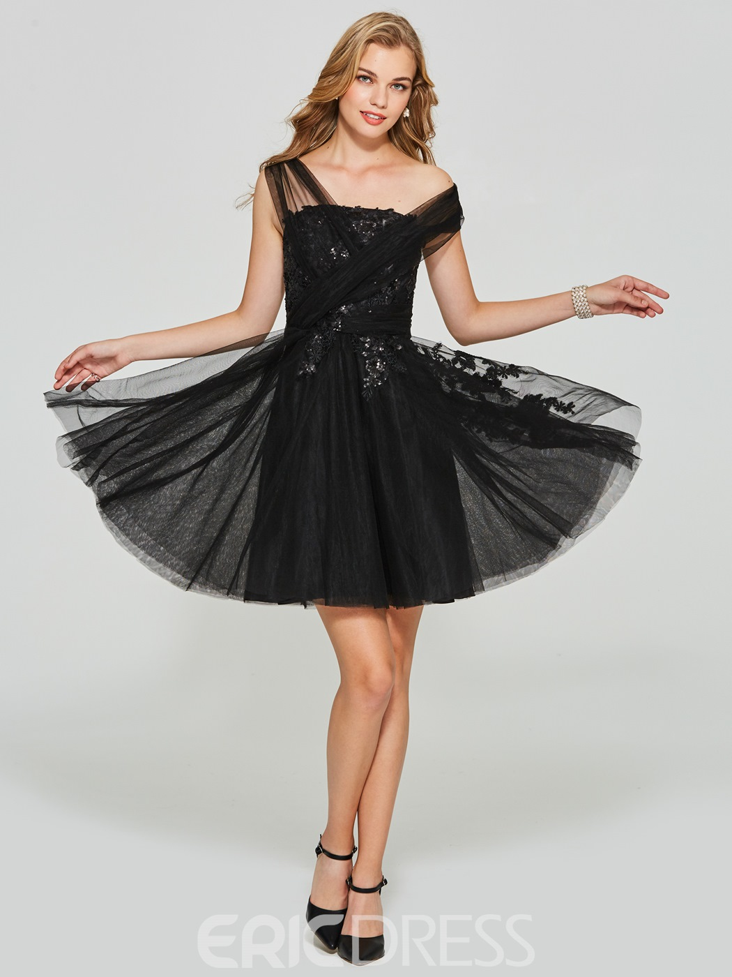 Ericdress A Line Short Applique Sequin Homecoming Dress