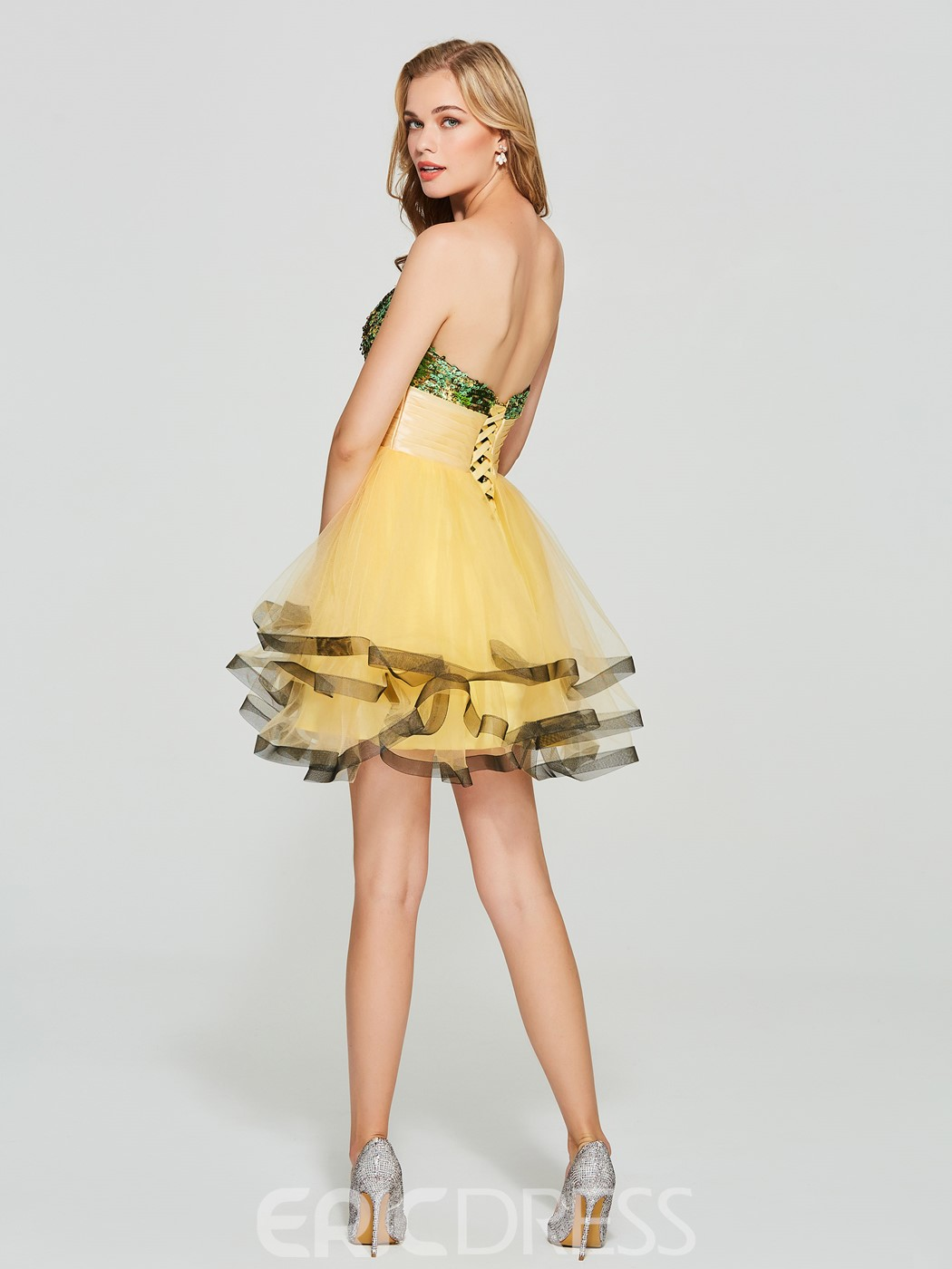 Ericdress A Line Strapless Sequin Lace-Up Back Short Homecoming Dress