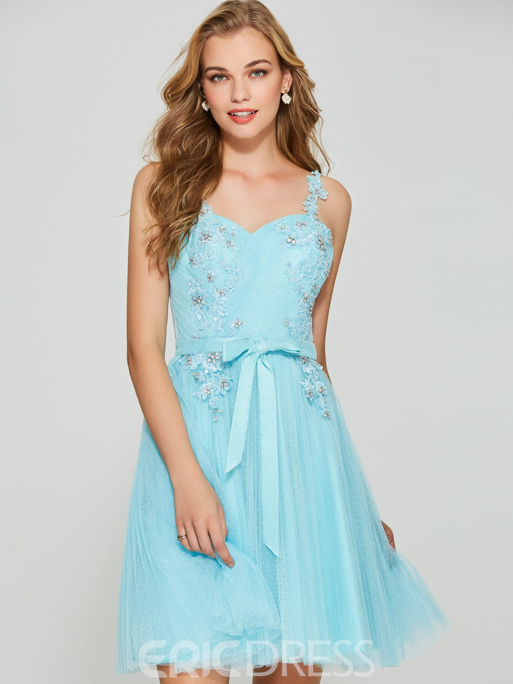Ericdress Straps Beaded Appliques Sky Blue Homecoming Dress