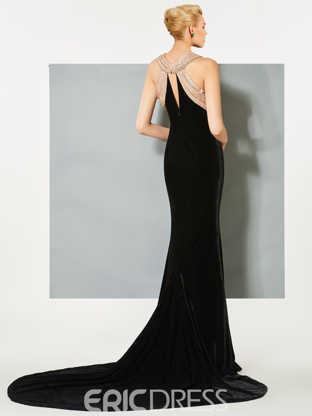 Ericdress Scoop Mermaid Hollow Floor-Length Evening Dress