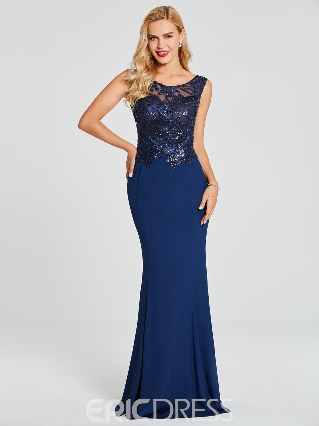 Ericdress Scoop Neck Beaded Appliques Mermaid Evening Dress