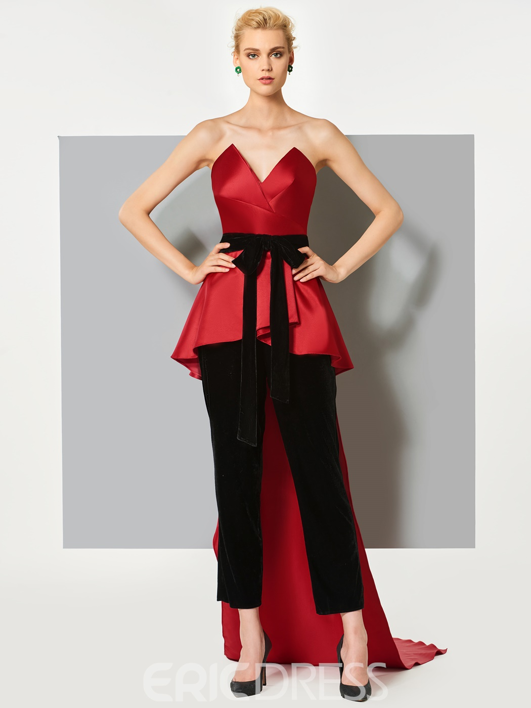 Ericdress Sheath Bowknot Sashes Sweetheart Jumpsuit With Court Train