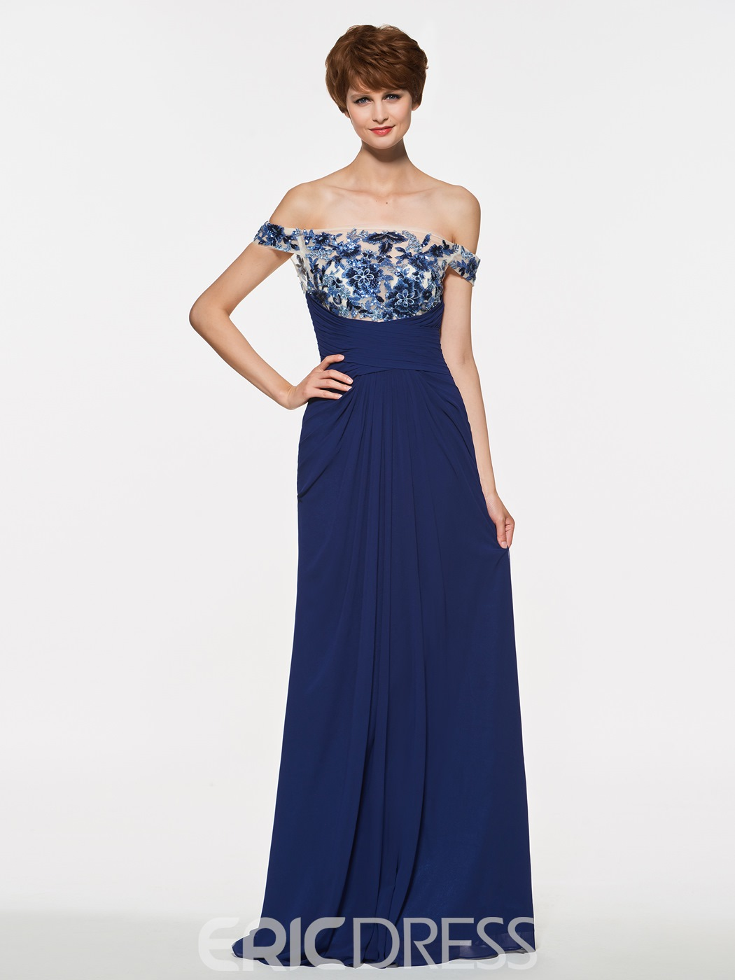 Ericdress Off The Shoulder Appliques A Line Long Mother Of The Bride Dress