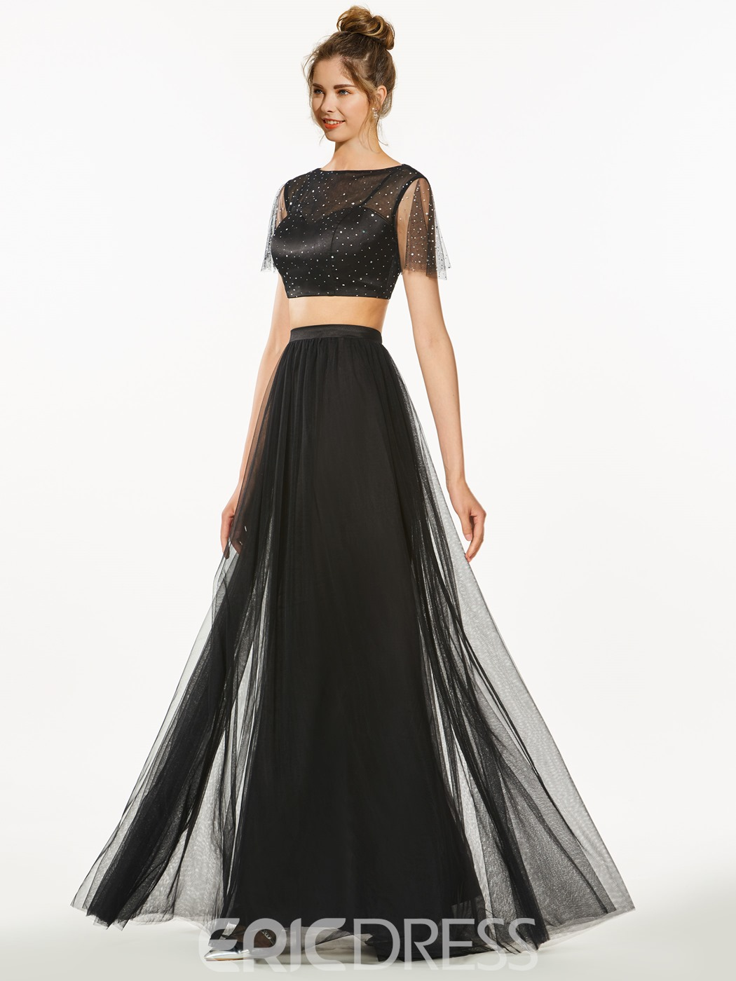 Ericdress A-Line Two Pieces Bateau Short Sleeves Sequins Prom Dress