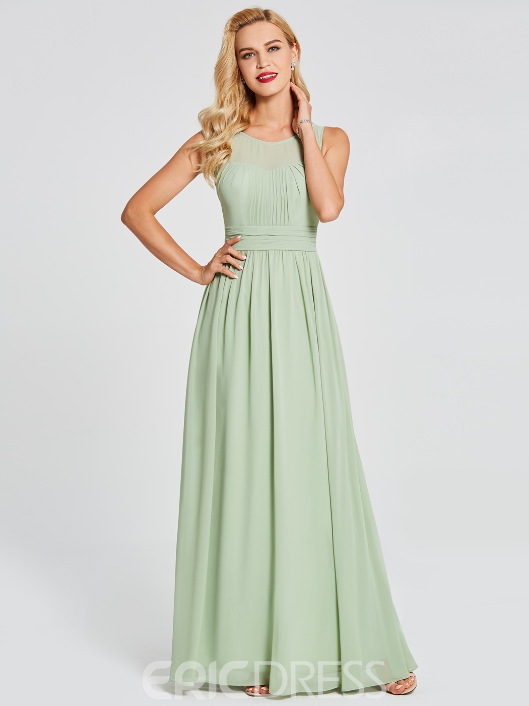 Ericdress scoop a line chiffon long bridesmaid dress 12945042 ericdress scoop a line chiffon long bridesmaid dress ombrellifo Choice Image