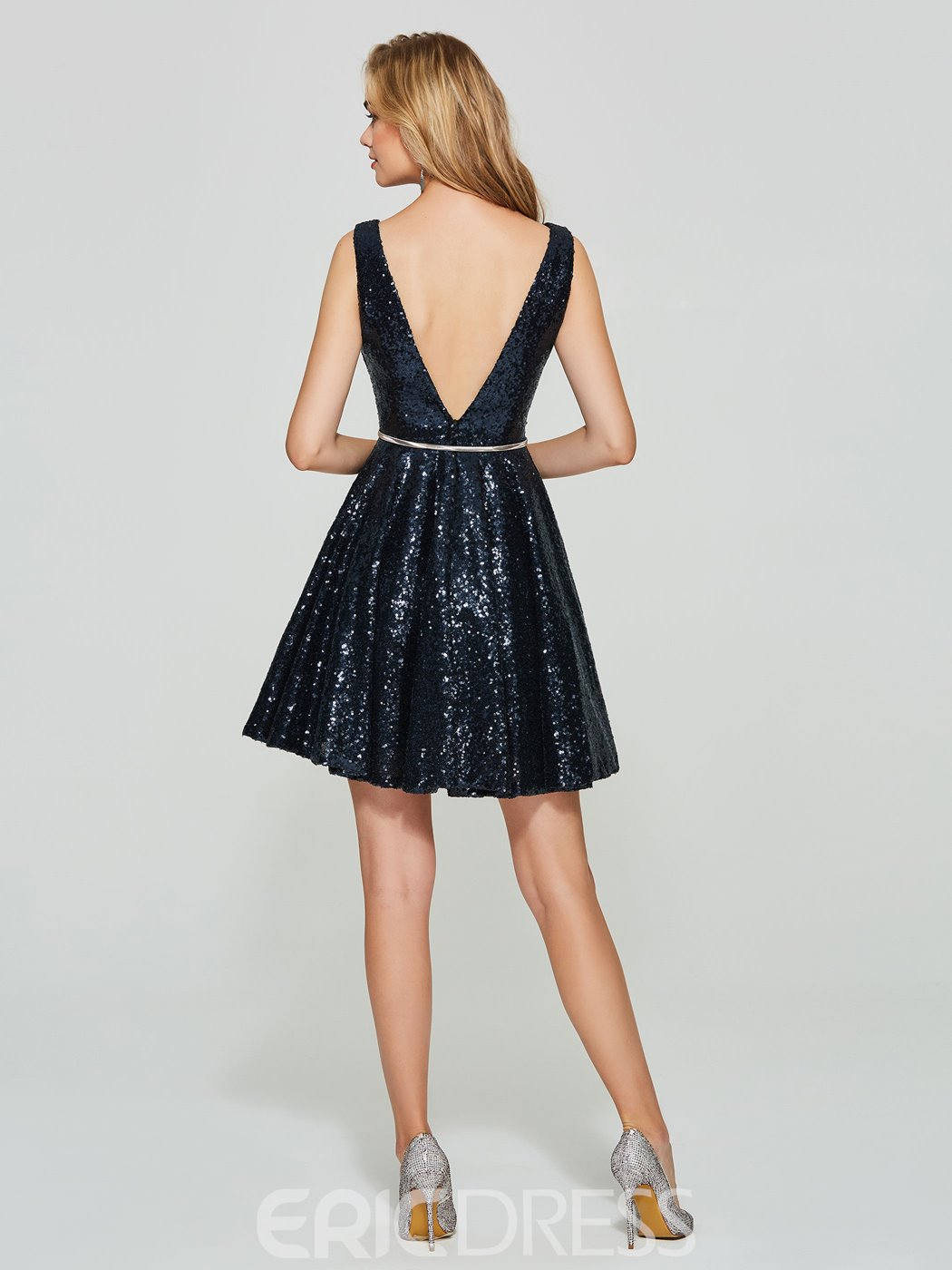 Ericdress Short A Line V Neck Sequin Deep Back Homecoming Dress