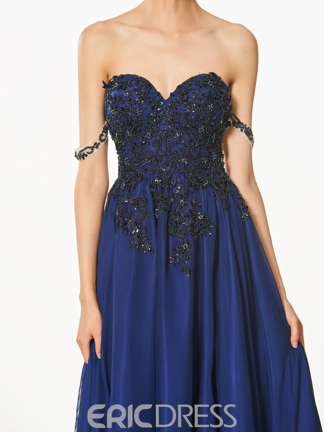 Ericdress A-Line Sweetheart Appliques Split-Front Prom Dress With Beading