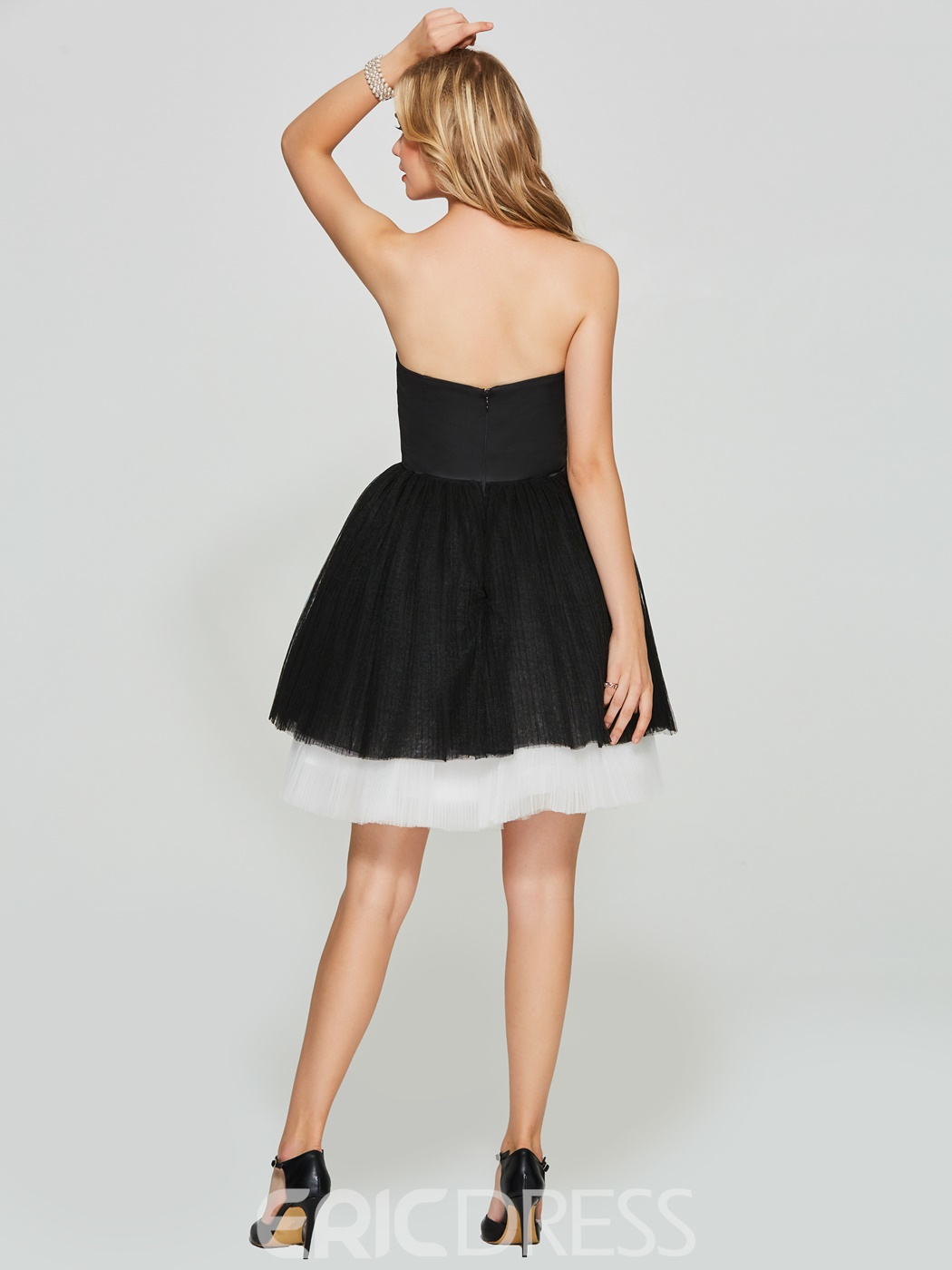 Ericdress Strapless Black And White Zipper-Up Ball Homecoming Dress