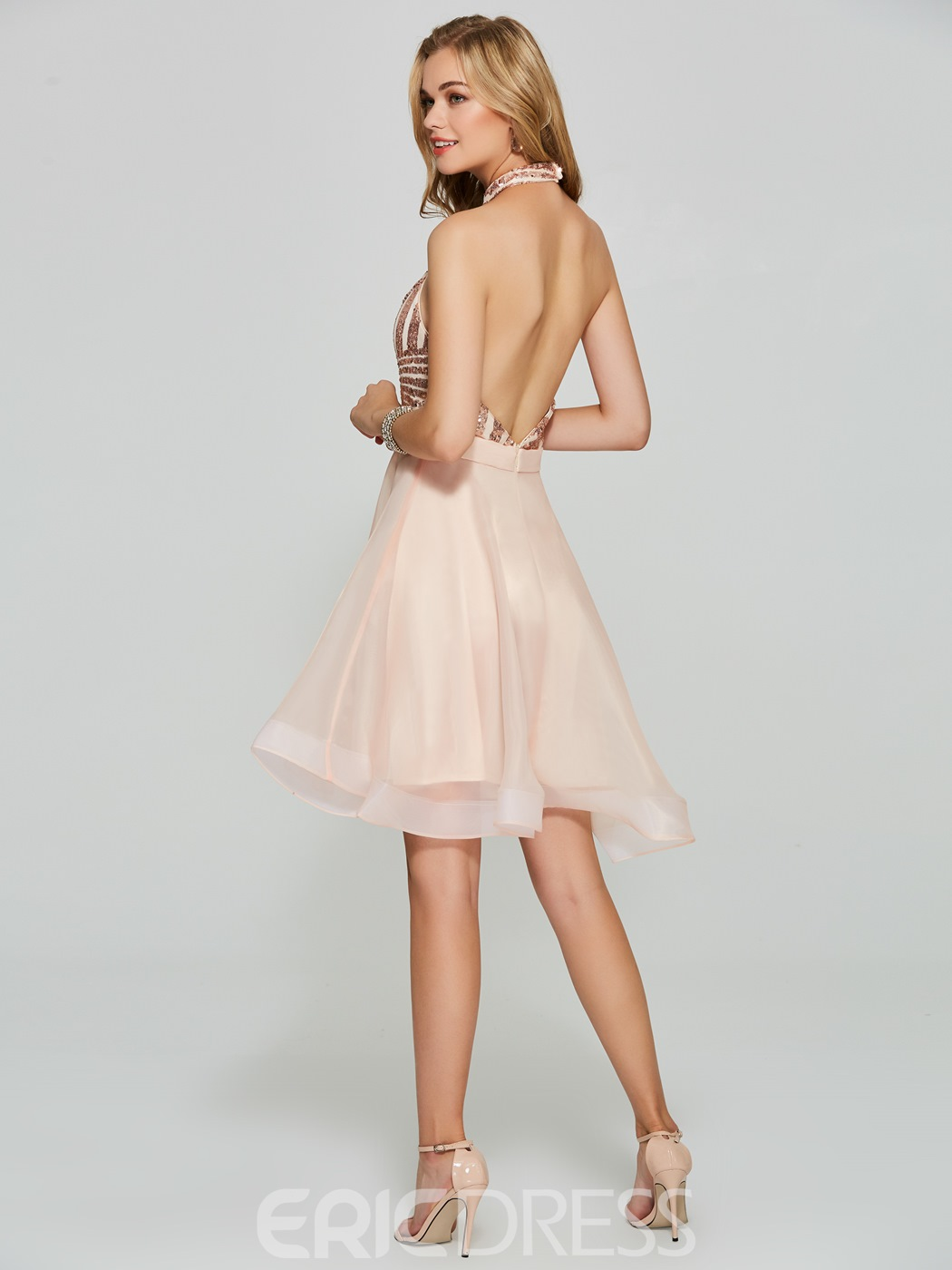 Ericdress una línea halter sequin backless homecoming vestido