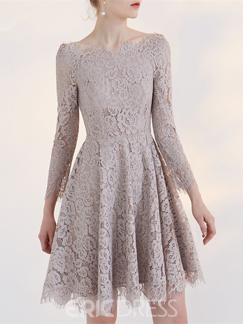 Ericdress A Line Long Sleeve Off The Shoulder Lace Short Homecoming Dress