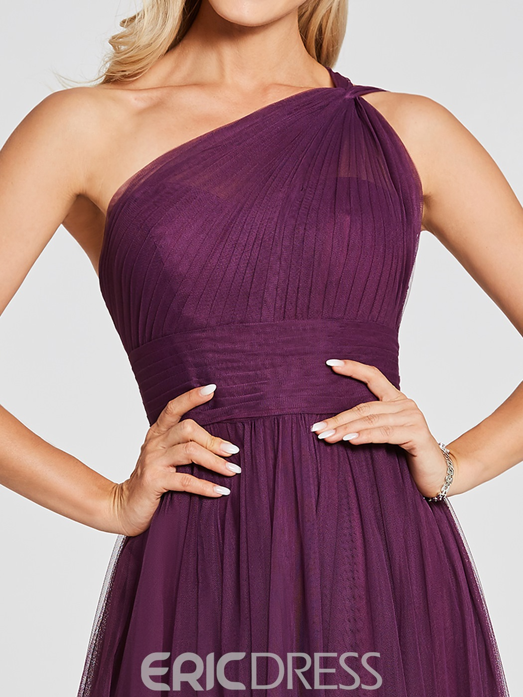 Ericdress One Shoulder A Line Tulle Long Bridesmaid Dress
