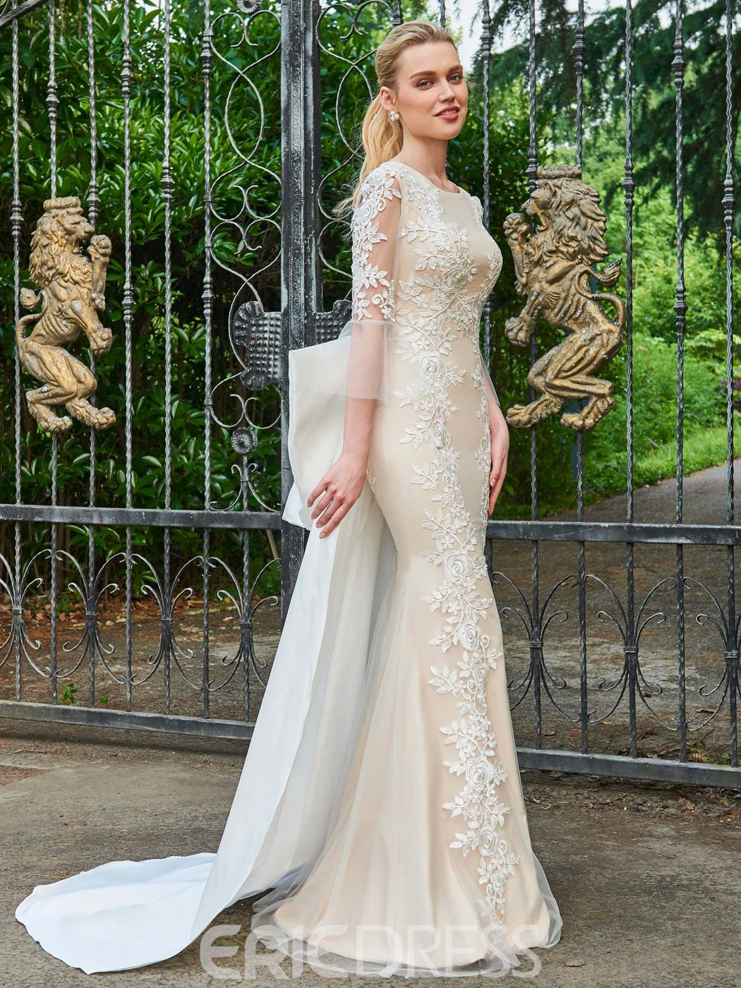 Ericdress Scoop Sheath 3/4 Length Sleeves Appliques Wedding Dress