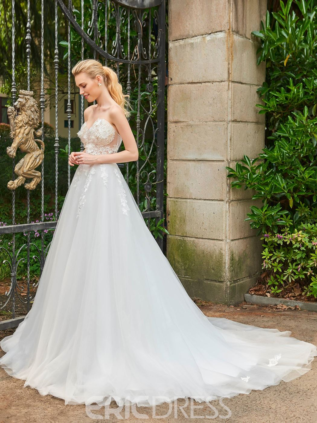 Ericdress Sweetheart Appliques Cathedral Train Ball Gown Garden Wedding Dress
