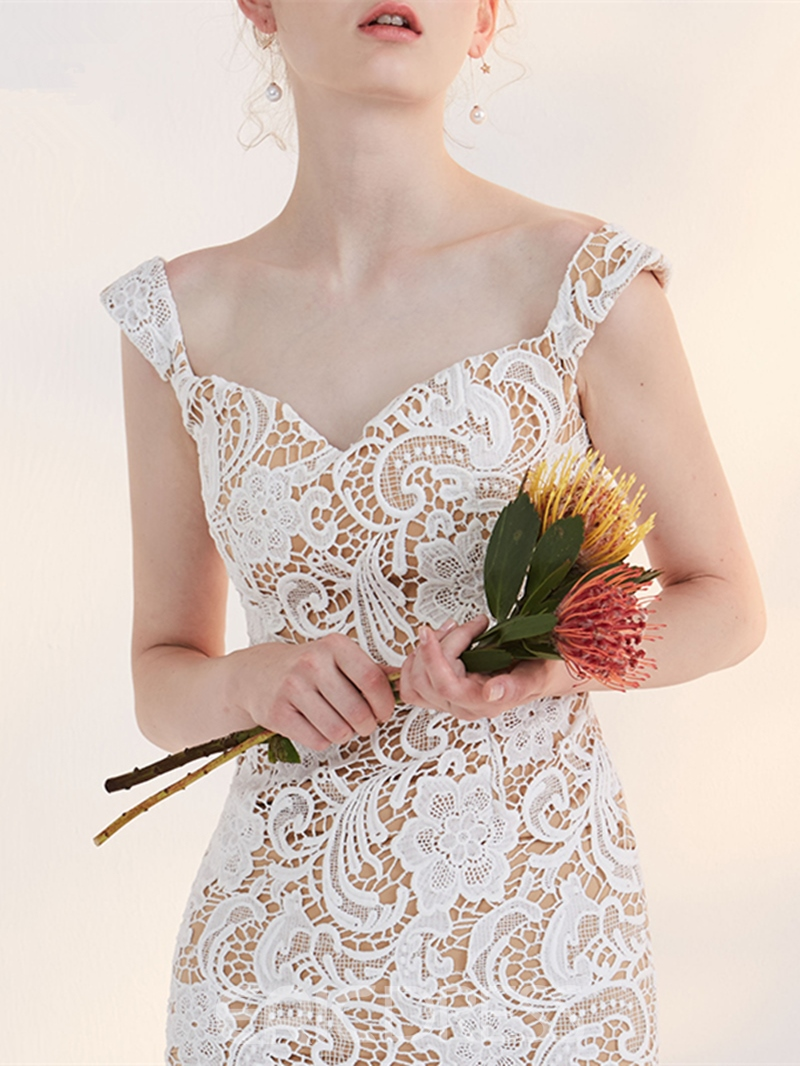 Ericdress Sheath Off The Shoulder Straps Tea Length Lace Homecoming Dress