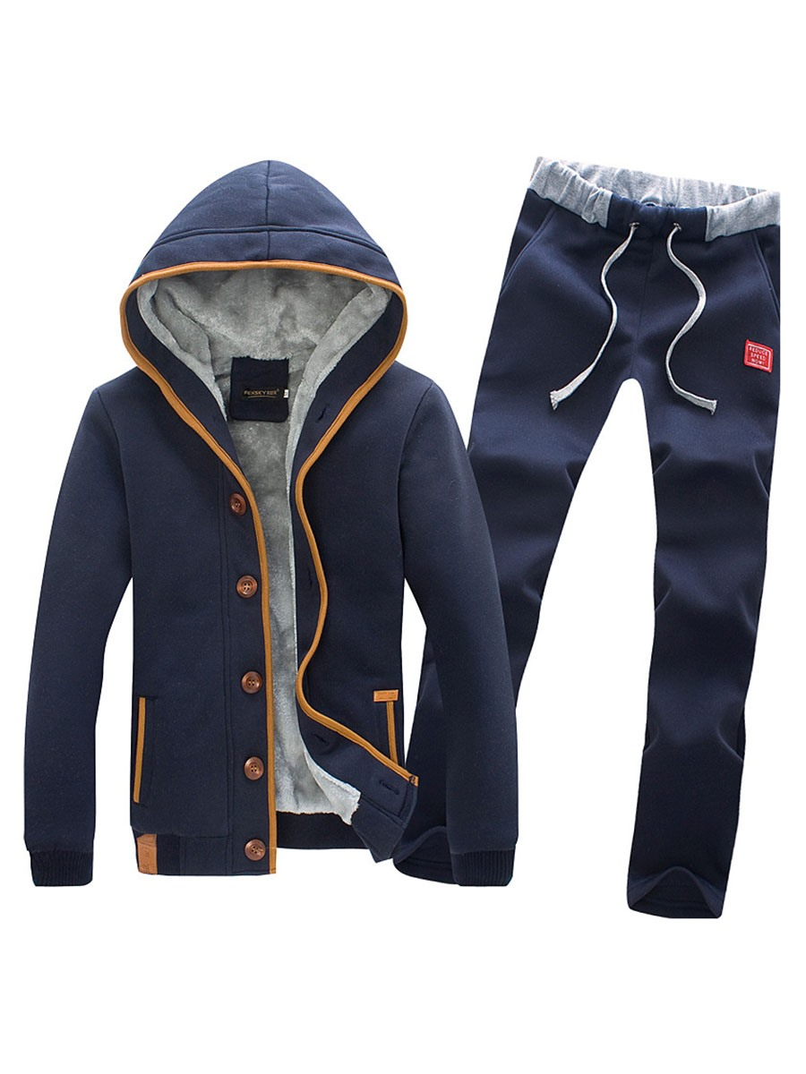 Ericdress Plain Cotton Hoodie Single-Breasted Men's Sports Suit