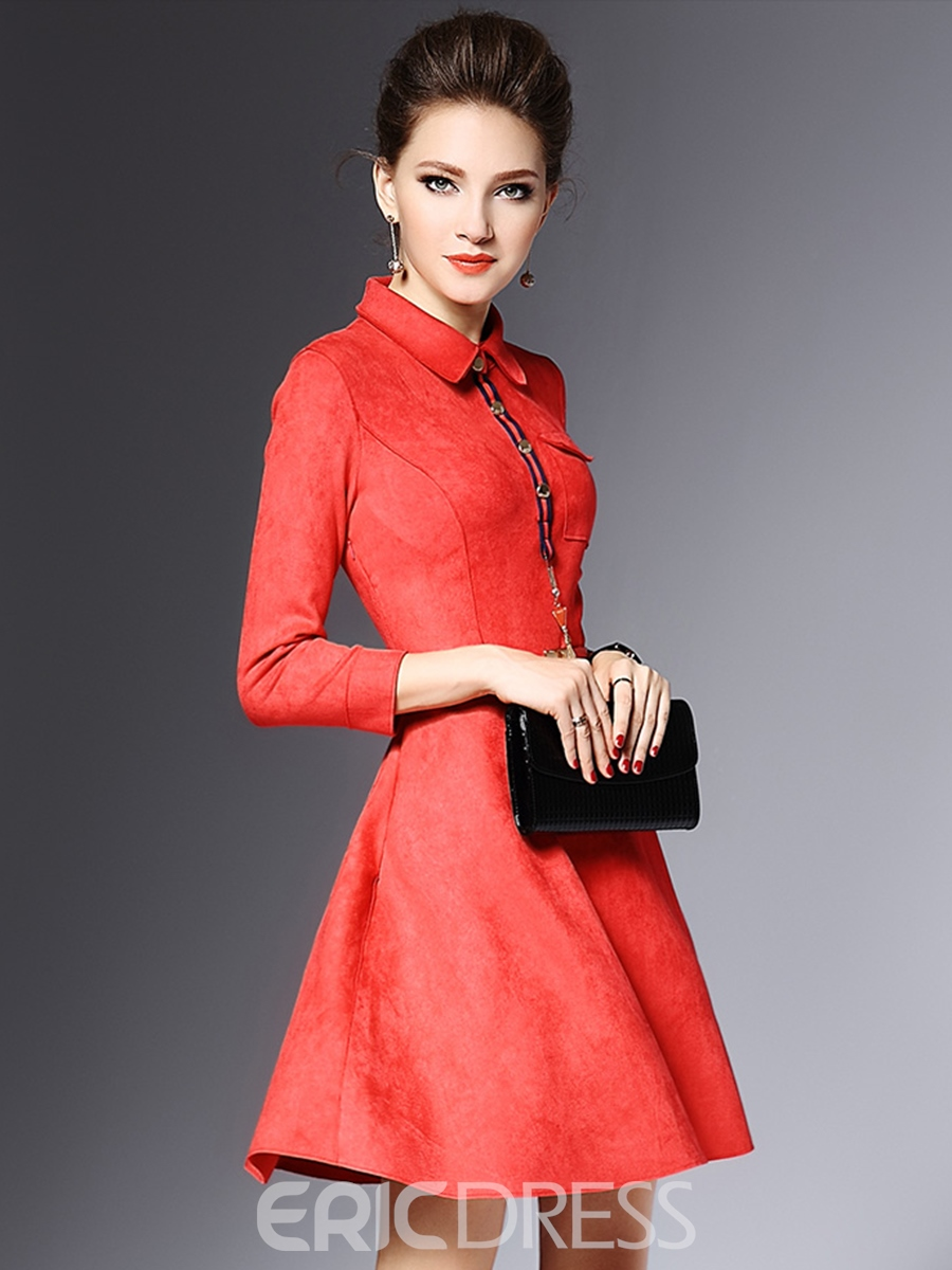 Ericdress Lapel 3/4 Sleeves Belt A Line Dress