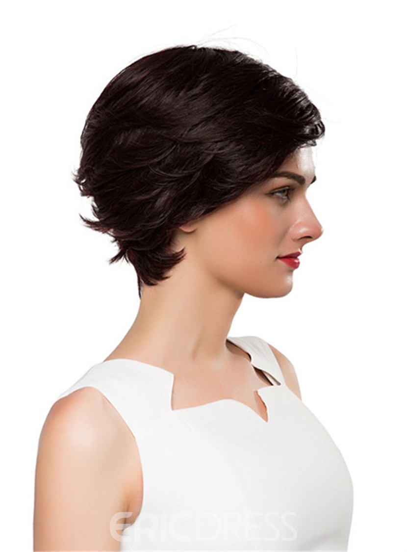 Ericdress Short Side Part Wavy Human Hair Capless Wig 10 Inches