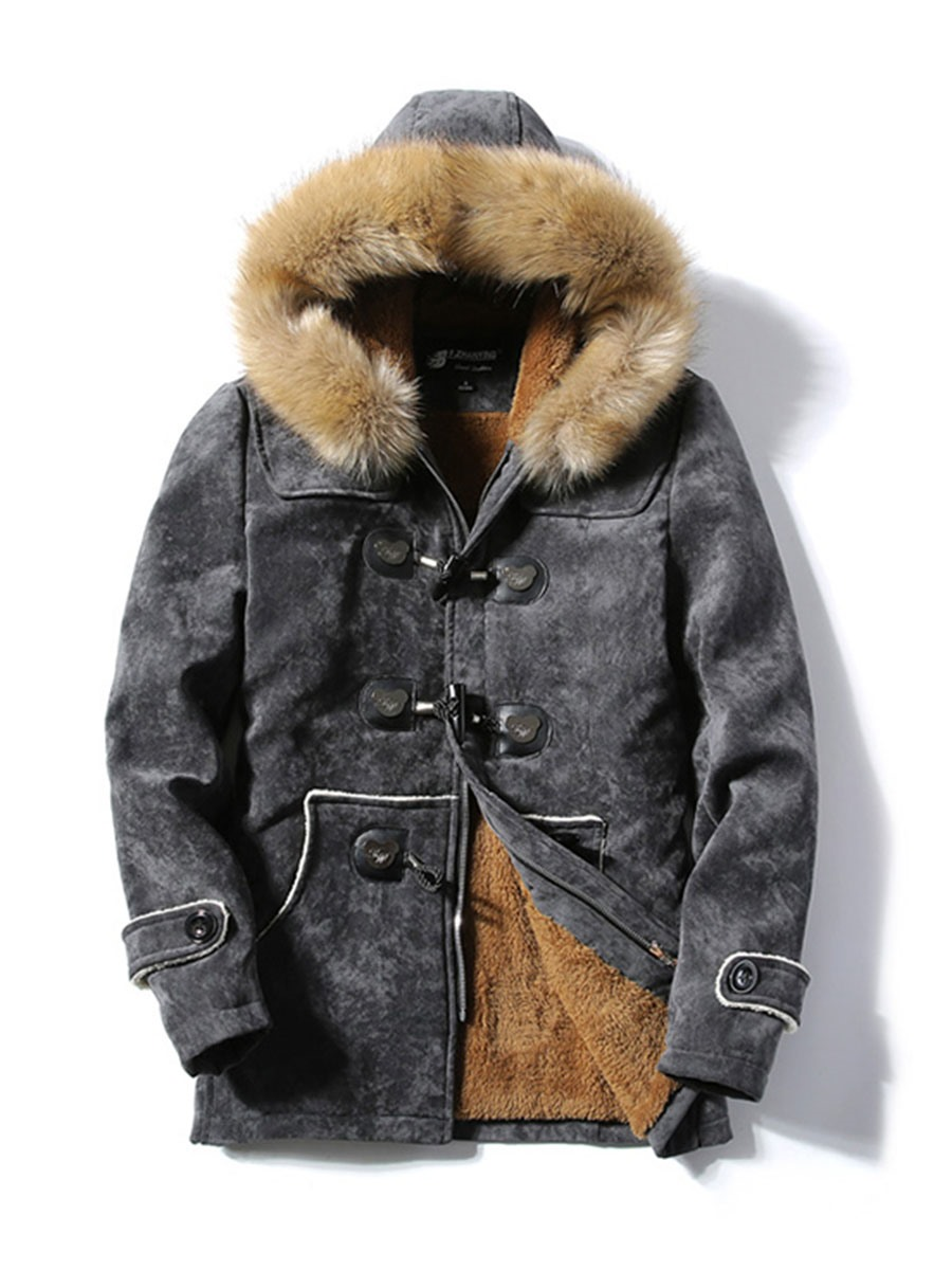 Ericdress Horn Fur Hooded Thicken Warm Men's Winter Coat