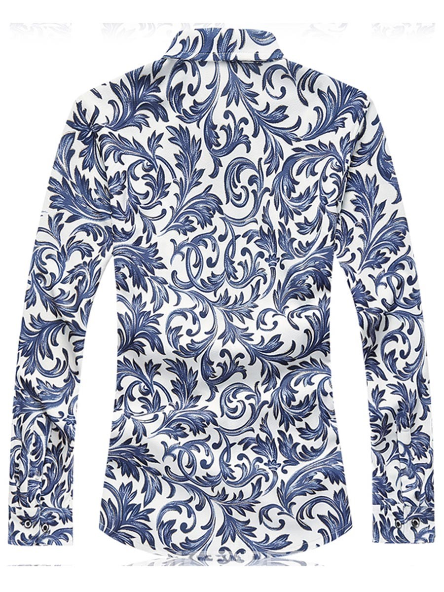Ericdress Lapel Color Block Print Long Sleeve Men's Shirt