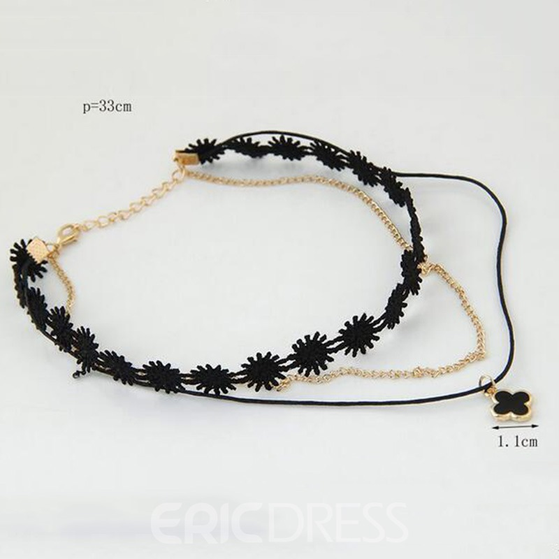Ericdress Fashionable Double-Layer Black Choker Necklace