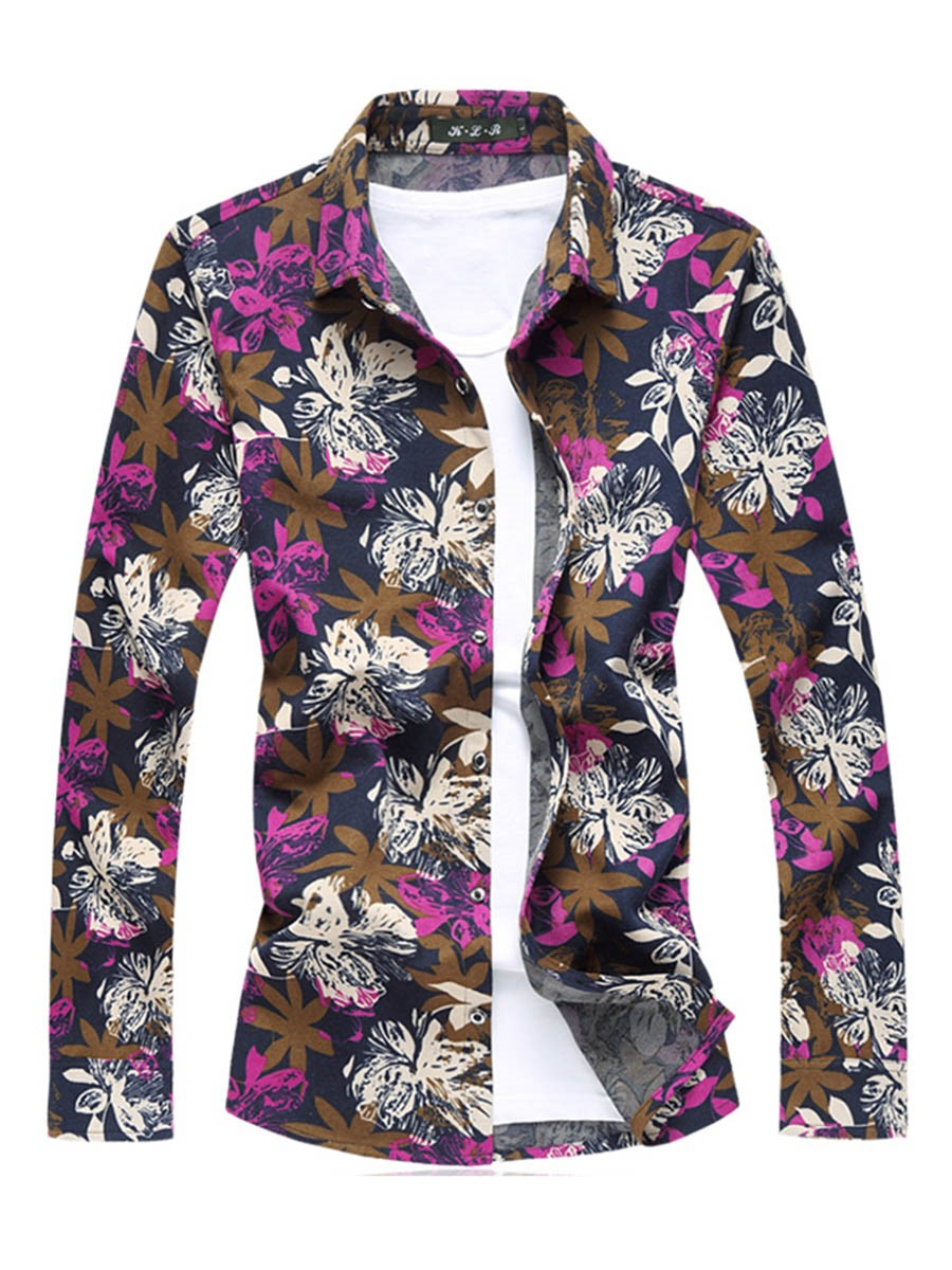 Ericdress Lapel Floral Print Color Block Men's Casual Shirt
