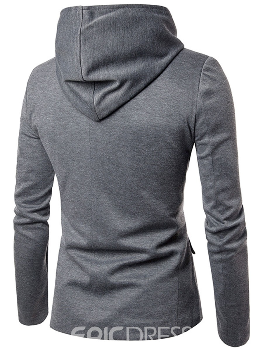 Ericdress Plain Hood Zip Casual Men's Blazer