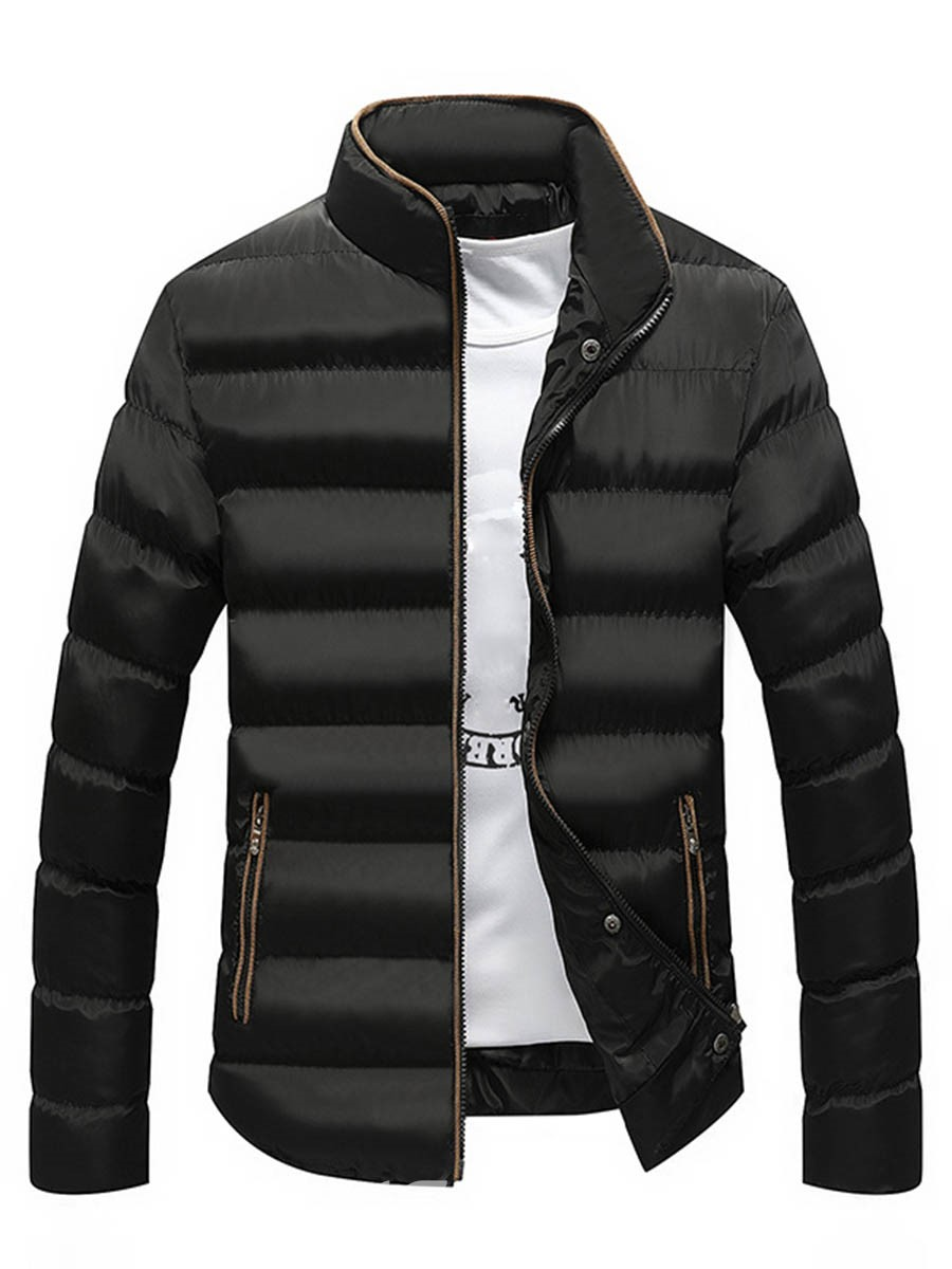 Ericdress Plain Zip Thicken Warm Down Casual Slim Men's Winter Coat