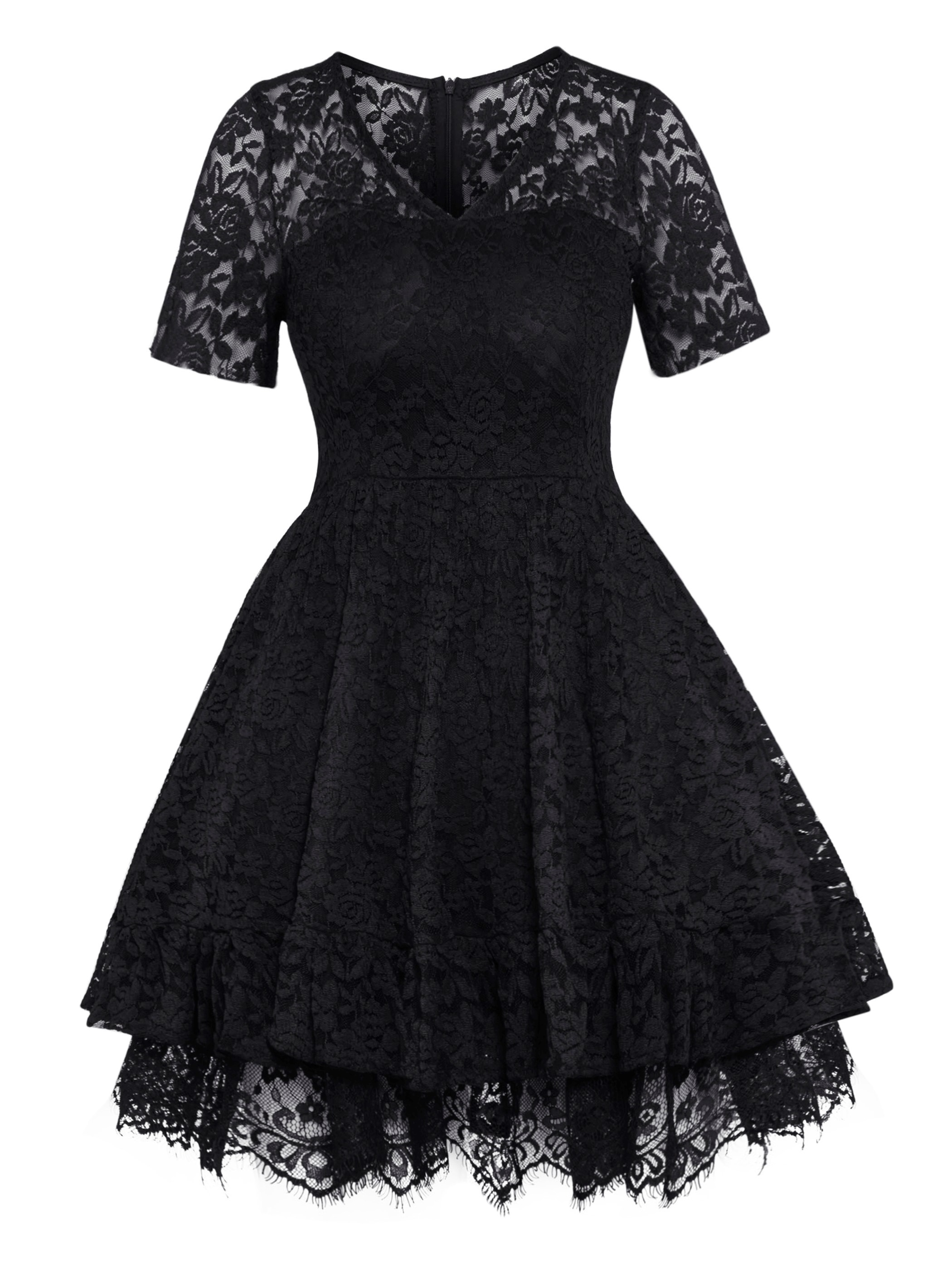Ericdress V-Neck High-Waist Hollow Plain Women's Lace Dress