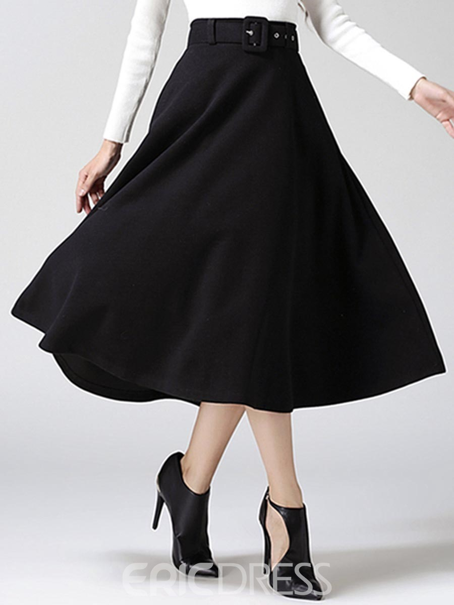 Ericdress High-Waist Pleated Pocket Skirts