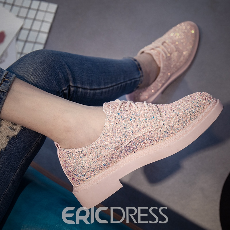 Ericdress Sequin Low-Cut Lace-Up Flats