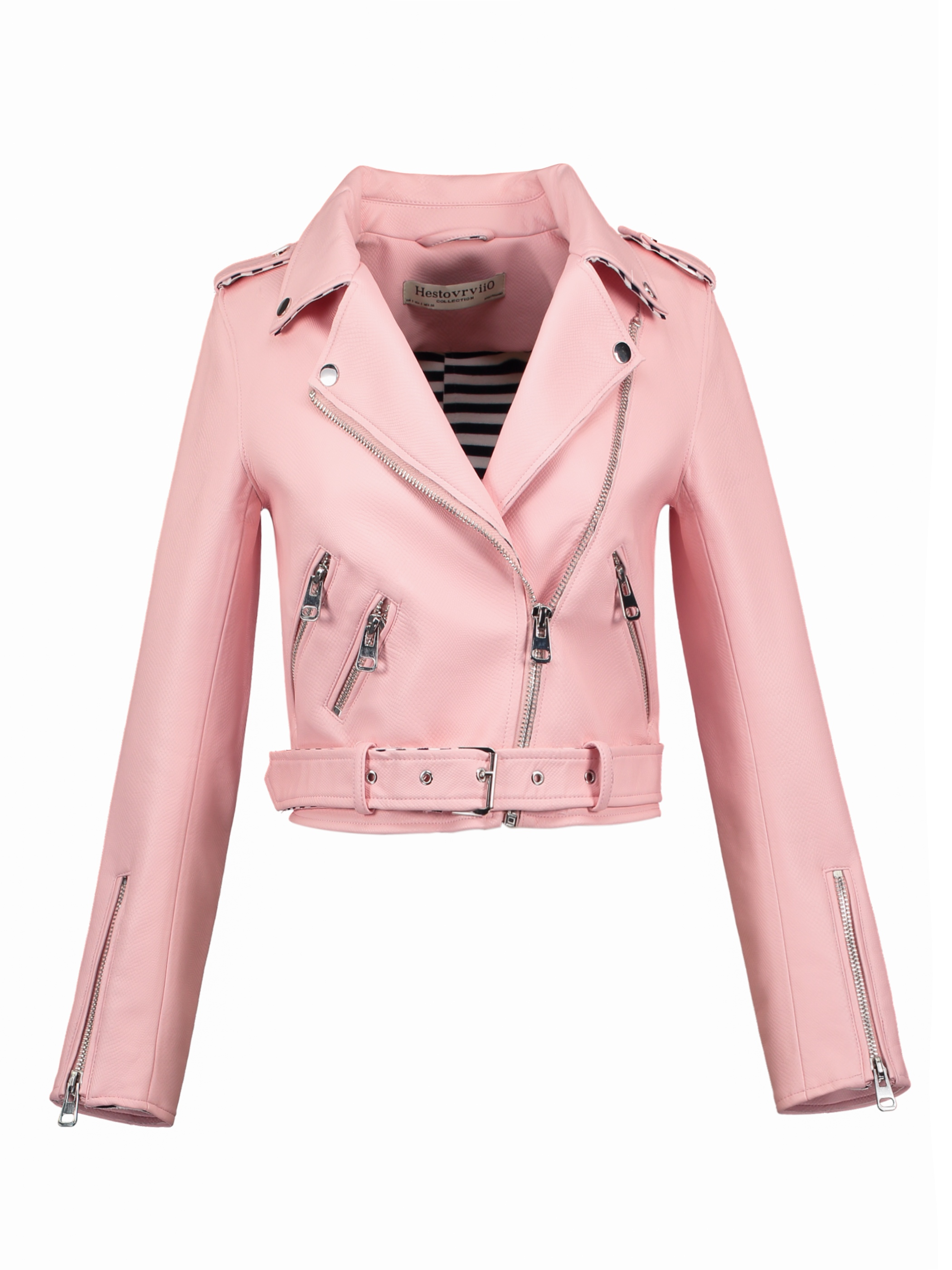 Ericdress Slim Lapel Zipper Epaulet Patchwork PU Jacket