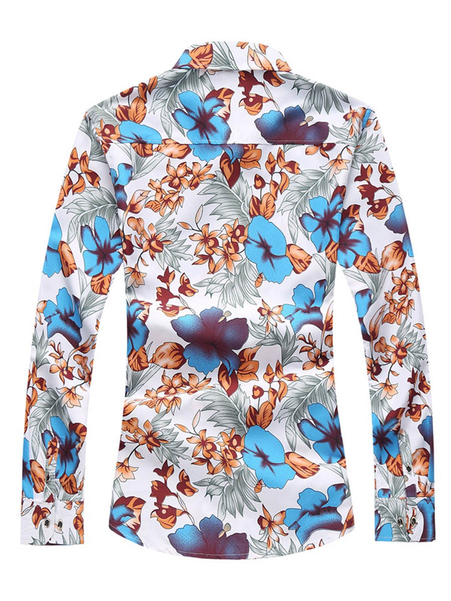 Ericdress Long Sleeve Flower Print Men's Casual Shirt