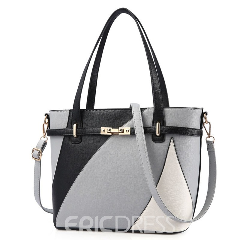 Ericdress Concise Patchwork PU Tote Bag