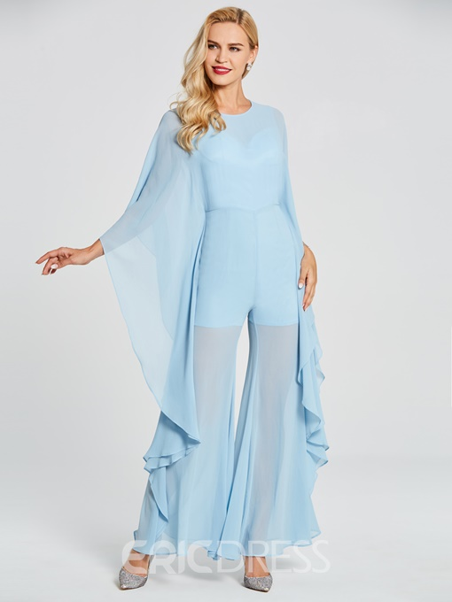Ericdress Scoop Neck Long Sleeves Chiffon Prom Jumpsuit
