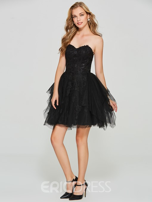 Ericdress Strapless Applique Lace Cocktail Ball Gown