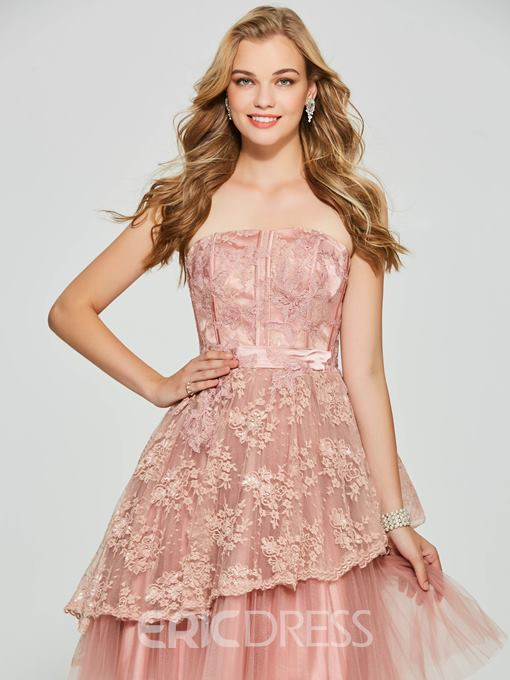 Ericdress A Line Strapless Applique Backless Short Homecoming Dress
