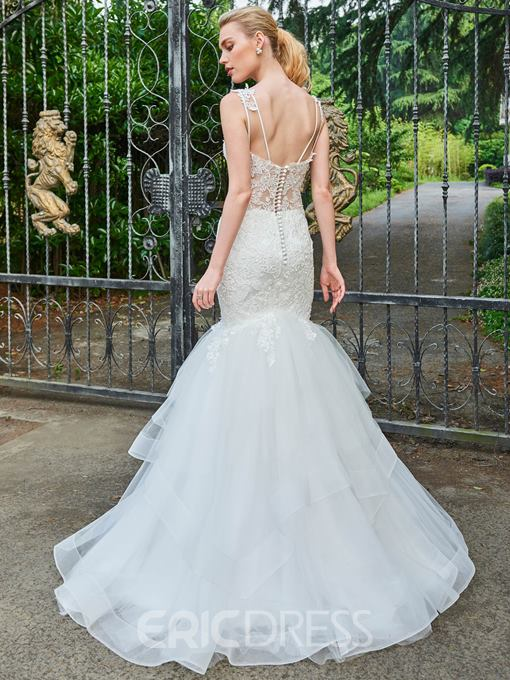 Ericdress Straps Tiered Appliques Mermaid Wedding Dress