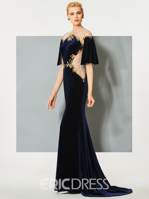 Ericdress Half Sleeves Jewel Button Beading Sweep Train Mermaid Evening Dress