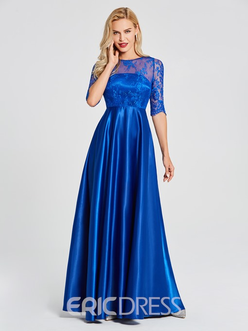 Ericdress Scoop Neck Half Sleeves Lace A Line Evening Dress