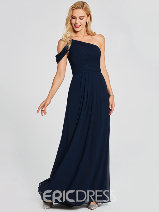 Ericdress One Shoulder A Line Chiffon Blue Bridesmaid Dress