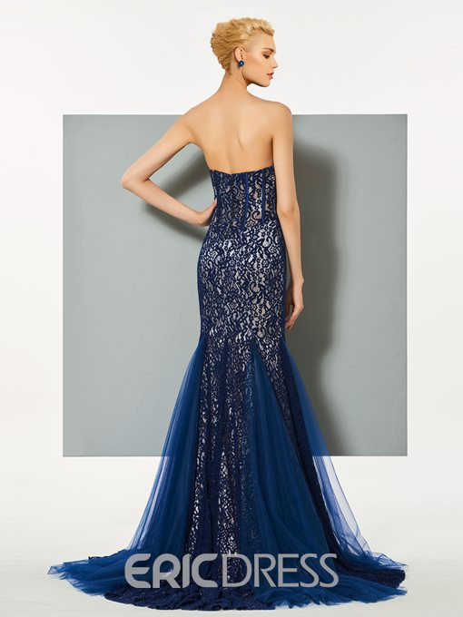 Ericdress Strapless Lace Mermaid Evening Dress With Sweep Train