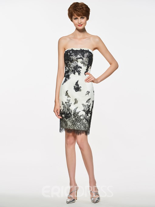 Ericdress Appliques Strapless Sheath Short Mother Of The Bride Dress With Jacket
