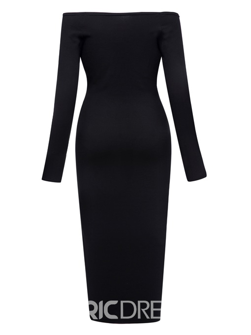 Ericdress Slash Neck Button Plain Bodycon Dress