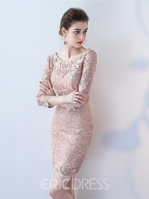 Ericdress Sheath 3/4 Sleeve Lace Short/Mini Cocktail Dress