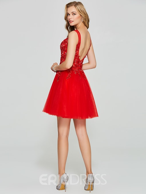 Ericdress Straps Applique Sequins Red Homecoming Dress