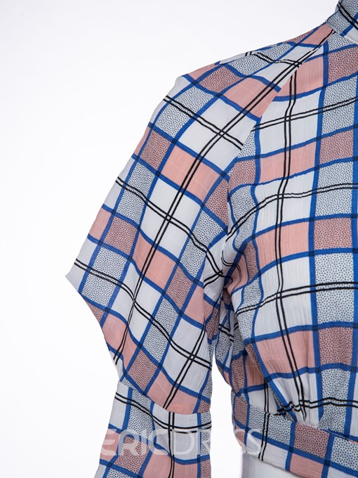 Ericdress Plaid Mid-Length Flare Sleeve Blouse