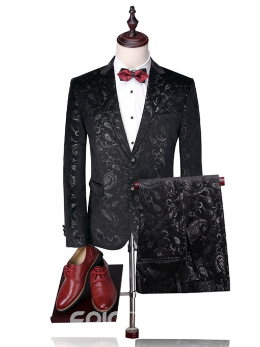 Ericdress Notched Lapel Print Slim Men's Suit