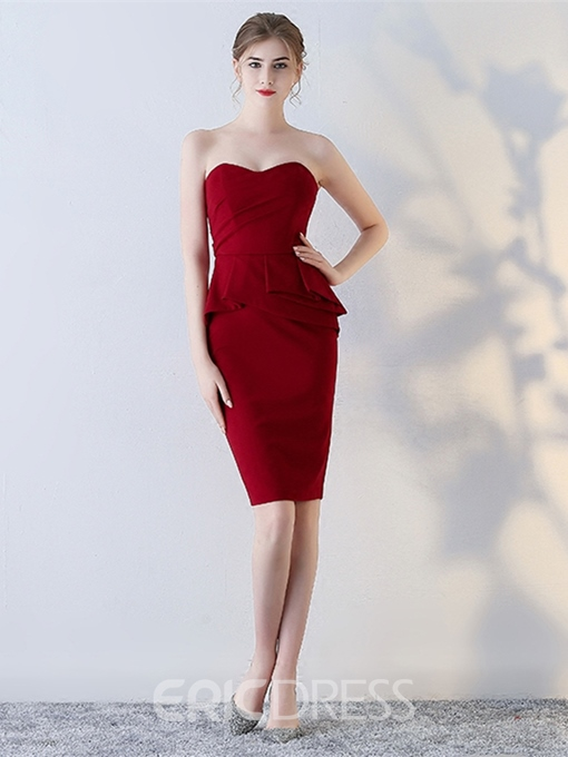 Ericdress Sheath Strapless Knee Length Short Bodycon Homecoming Dress