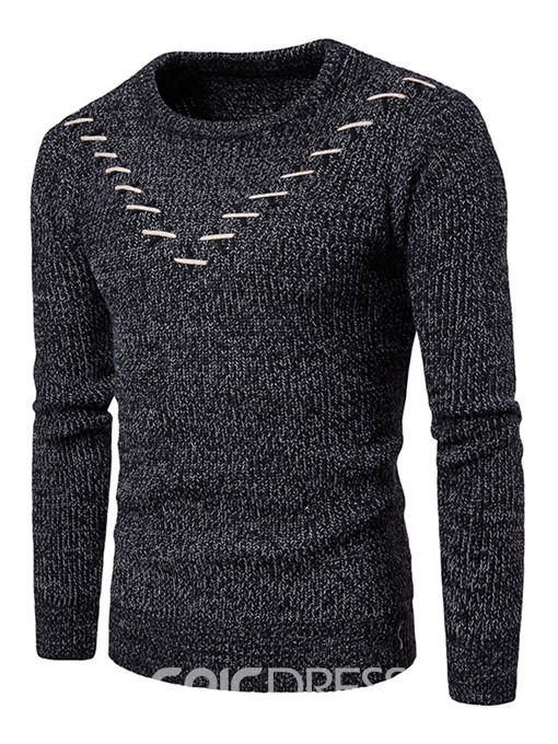 Ericdress Round Neck Slim Men's Sweater