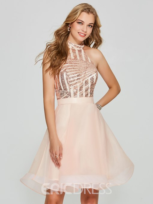 Ericdress A Line Halter Sequin Backless Short Homecoming Dress